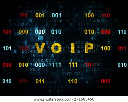 Web design concept: Pixelated yellow text VOIP on Digital wall background with Binary Code, 3d render - stock photo