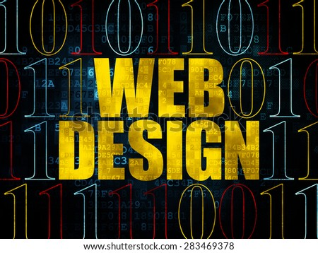 Web design concept: Pixelated yellow text Web Design on Digital wall background with Binary Code, 3d render - stock photo