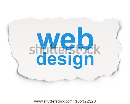 Web design concept: torn paper with words Web Design on Paper background, 3d render - stock photo
