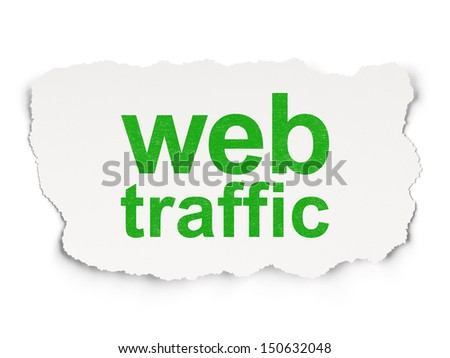 Web design concept: torn paper with words Web Traffic on Paper background, 3d render - stock photo
