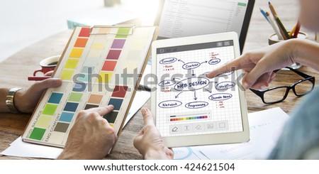 Web Design Ideas Creativity Programming Networking Software Concept - stock photo