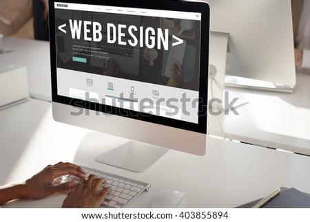 Web Design Internet Website Responsive Software Concept - stock photo