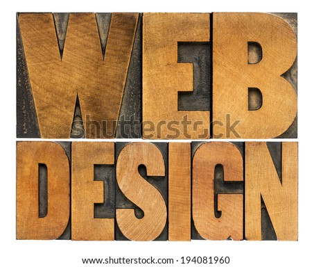 web design  - isolated words in vintage letterpress wood type printing blocks - top view