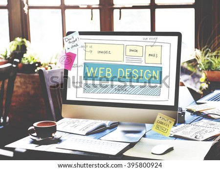 Web Design Layout Technology Website Internet Concept - stock photo