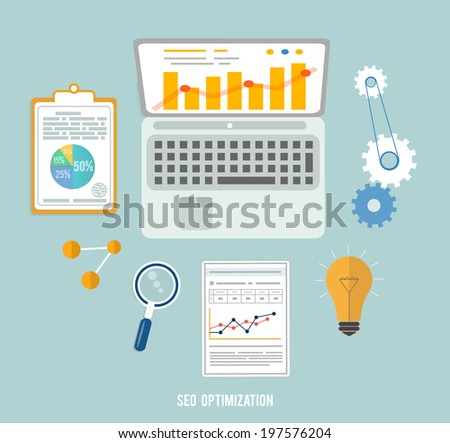 Web design objects, seo optimization, business, office and education items icons. Raster version - stock photo