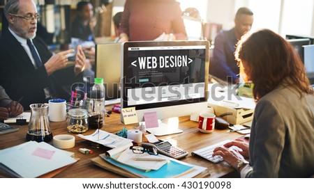 Web Design Online Webpage Website Connect Concept - stock photo
