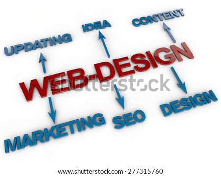 Web-Design over white background - stock photo