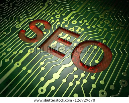 Web design SEO concept: circuit board with word SEO, 3d render - stock photo