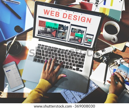 Web Design Software Technology Layout Blogging Concept - stock photo
