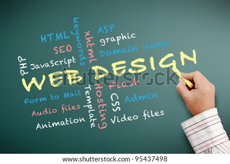Web design teaching and other related words, handwritten with chalk on a blackboard. - stock photo