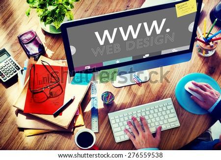 Web Design Web WWW Development Internet Media Creative Concept - stock photo