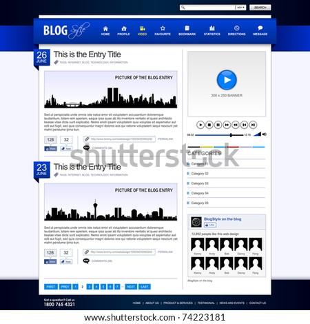 Web Design Website Element Blue Template - stock photo