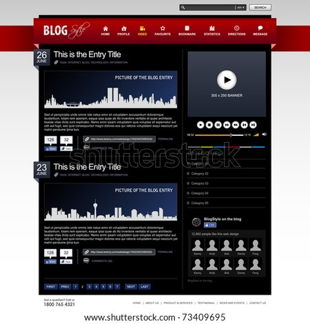 Web Design Website Element Dark Black Template - stock photo
