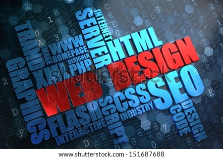 Web Design - Wordcloud Concept. The Word in Red Color, Surrounded by a Cloud of Blue Words. - stock photo