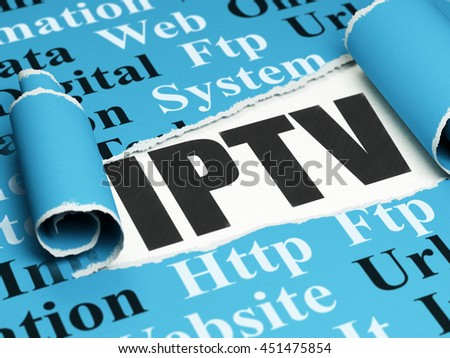 Web development concept: black text IPTV under the curled piece of Blue torn paper with  Tag Cloud, 3D rendering