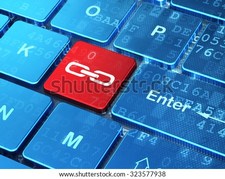 Web development concept: computer keyboard with Link icon on enter button background, 3d render - stock photo