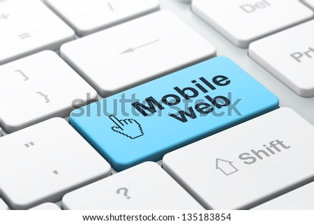 Web development concept: computer keyboard with Mouse Cursor icon and word Mobile Web, selected focus on enter button, 3d render - stock photo