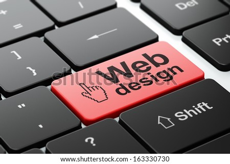 Web development concept: computer keyboard with Mouse Cursor icon and word Web Design, selected focus on enter button, 3d render - stock photo