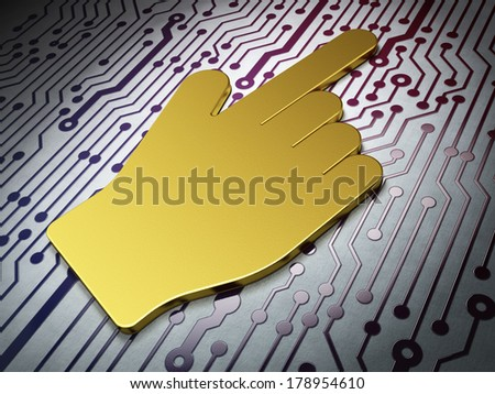 Web development concept: Golden Mouse Cursor on Circuit Board background, 3d render - stock photo