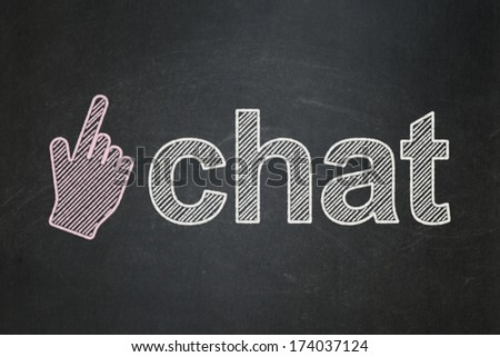 Web development concept: Mouse Cursor icon and text Chat on Black chalkboard background, 3d render