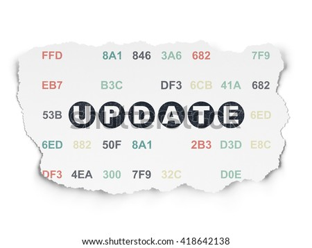 Web development concept: Painted black text Update on Torn Paper background with  Hexadecimal Code - stock photo