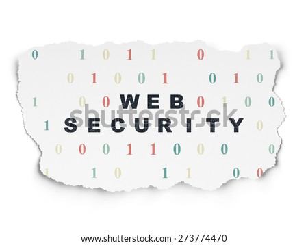 Web development concept: Painted black text Web Security on Torn Paper background with  Binary Code, 3d render - stock photo