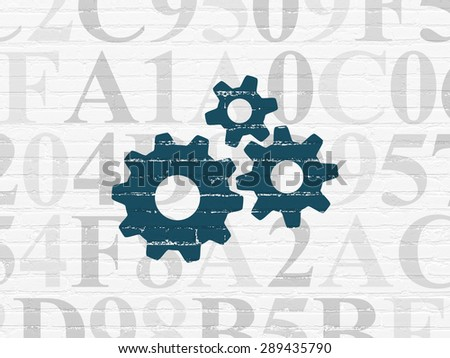 Web development concept: Painted blue Gears icon on White Brick wall background with  Hexadecimal Code, 3d render - stock photo