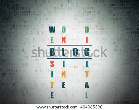 Web development concept: Painted blue word Blog in solving Crossword Puzzle on Digital Paper background - stock photo