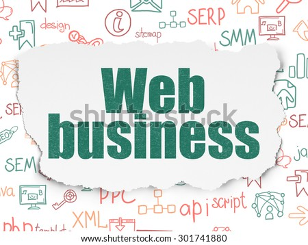 Web development concept: Painted green text Web Business on Torn Paper background with  Hand Drawn Site Development Icons, 3d render - stock photo