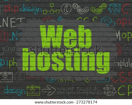 Web development concept: Painted green text Web Hosting on Black Brick wall background with  Hand Drawn Site Development Icons, 3d render - stock photo