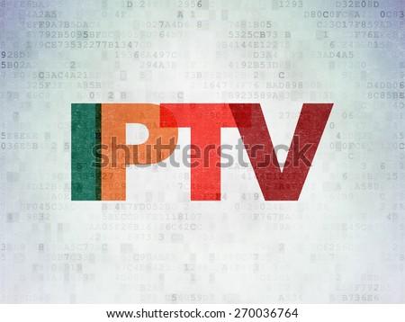 Web development concept: Painted multicolor text IPTV on Digital Paper background, 3d render - stock photo
