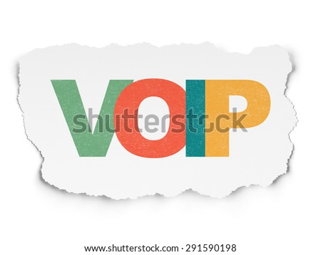 Web development concept: Painted multicolor text VOIP on Torn Paper background, 3d render - stock photo