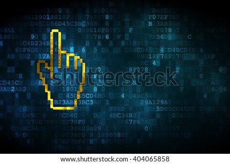 Web development concept: pixelated Mouse Cursor icon on digital background, empty copyspace for card, text, advertising - stock photo