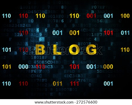 Web development concept: Pixelated yellow text Blog on Digital wall background with Binary Code, 3d render - stock photo