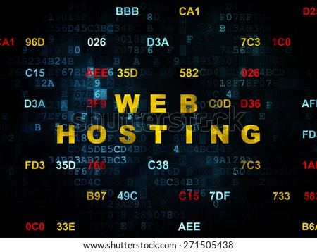 Web development concept: Pixelated yellow text Web Hosting on Digital wall background with Hexadecimal Code, 3d render - stock photo