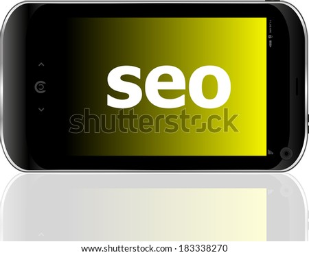 Web development concept: smartphone with word SEO on display - stock photo