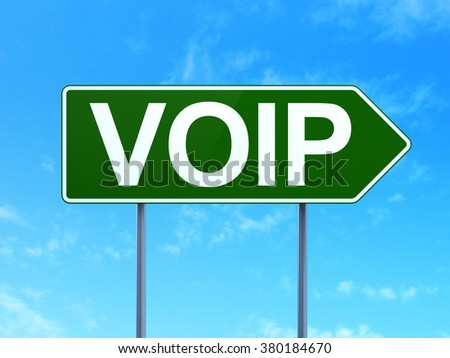 Web development concept: VOIP on road sign background