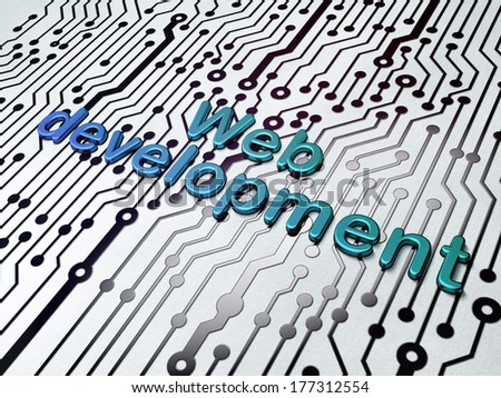 Web development concept:  Web Development on Circuit Board background, 3d render - stock photo