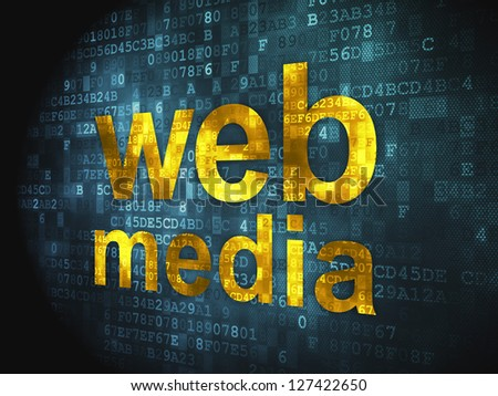 Web development SEO concept: pixelated words Web Media on digital background, 3d render