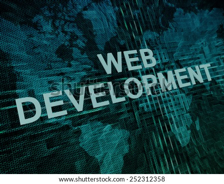 Web Development text concept on green digital world map background  - stock photo