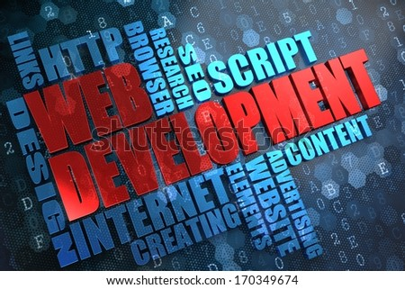 Web Development - Wordcloud Concept. The Word in Red Color, Surrounded by a Cloud of Blue Words.