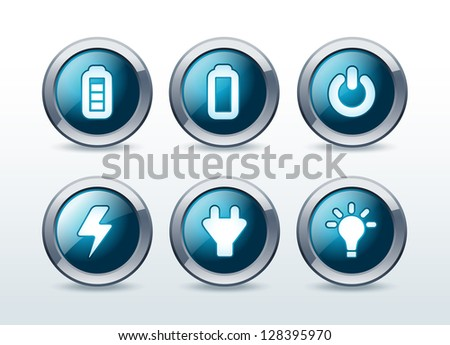 Web energy button icons set illustration