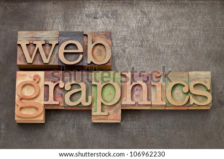 web graphics - text in vintage letterpress wood type against grunge metal surface
