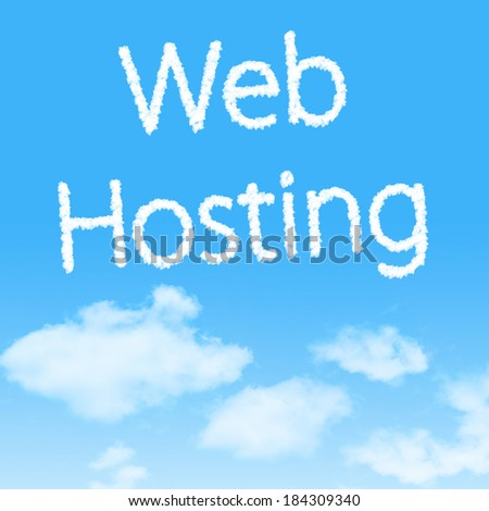 Web Hosting cloud icon with design on blue sky background - stock photo