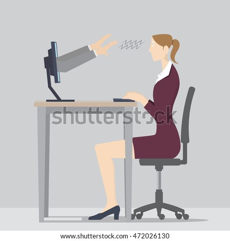 Web Hypnosis Concept, Two hands coming out of a computer screen to hypnotize a woman, 3D illustration