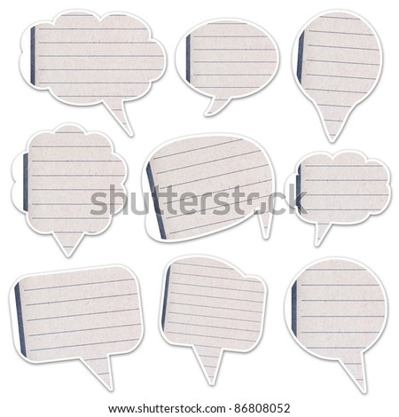 web icon paper talk massage created by grunge paper cut isolated on white