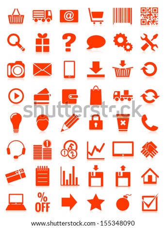 web icons for eshop, flat design, white on red background,  illustration, bitmap copy