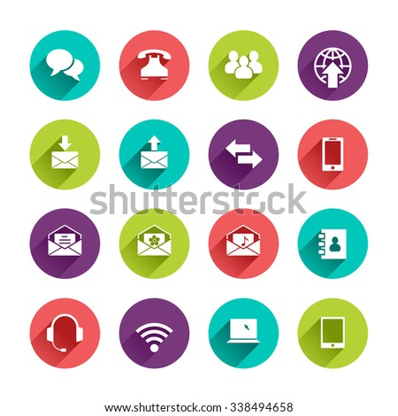 Web Icons Set in Flat Design with Long Shadows on circle buttons with speech bubble phone group of people email arrows smartphone phonebook headphones wi-fi tablet notebook laptop signs - stock photo