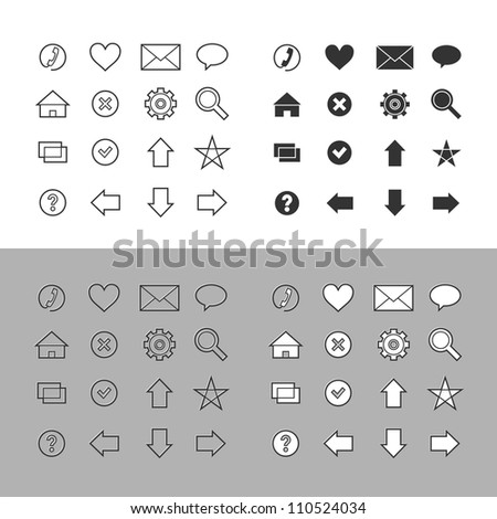 Web icons set (raster version) - stock photo