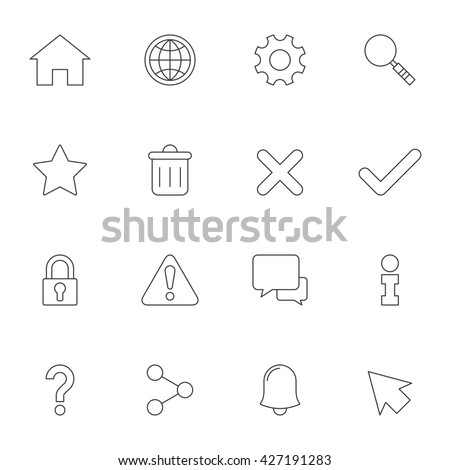 Web interface outline icons. Web and mobile elements